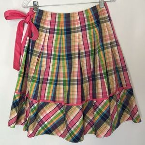 Lilly Pulitzer Plaid Wrap Skirt. Size 0